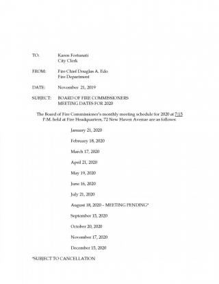 Fire Commissioners Yearly Meeting Schedule 2020